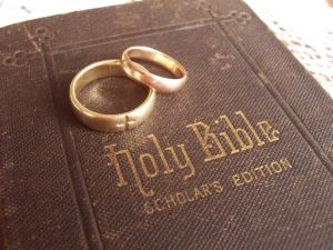 Bible with Wedding Rings