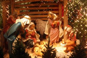 Nativity, with Christmas Trees
